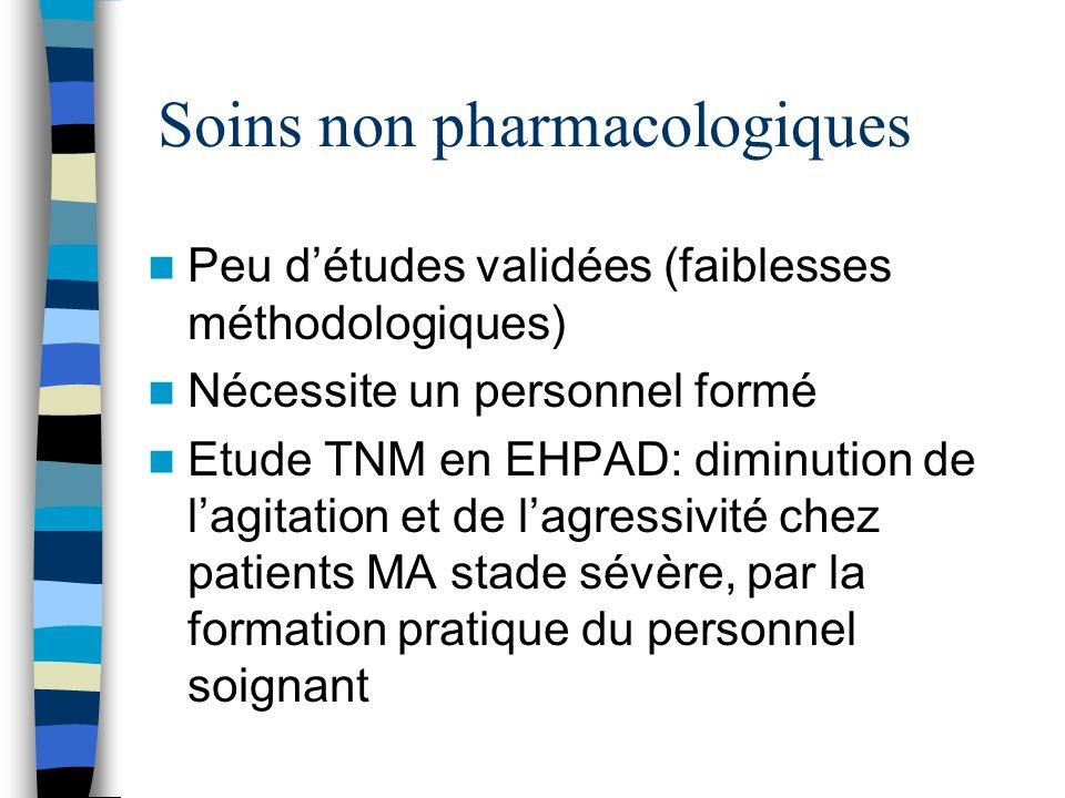 Soins non pharmacologiques Peu détudes validées (faiblesses méthodologiques) Nécessite un personnel formé Etude TNM en EHPAD: diminution de lagitation