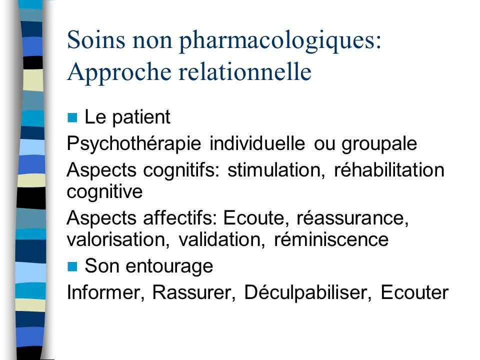 Soins non pharmacologiques: Approche relationnelle Le patient Psychothérapie individuelle ou groupale Aspects cognitifs: stimulation, réhabilitation c