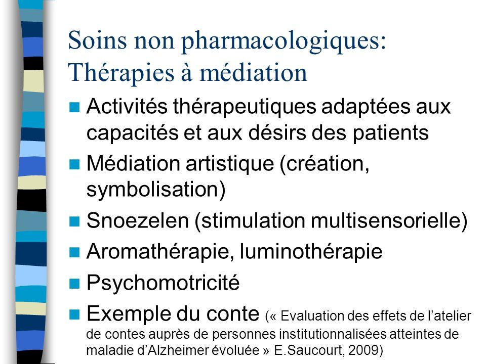 Soins non pharmacologiques: Thérapies à médiation Activités thérapeutiques adaptées aux capacités et aux désirs des patients Médiation artistique (cré