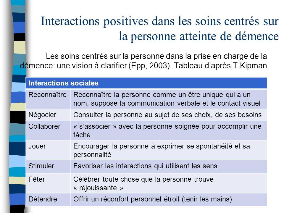 Interactions positives dans les soins centrés sur la personne atteinte de démence Les soins centrés sur la personne dans la prise en charge de la déme