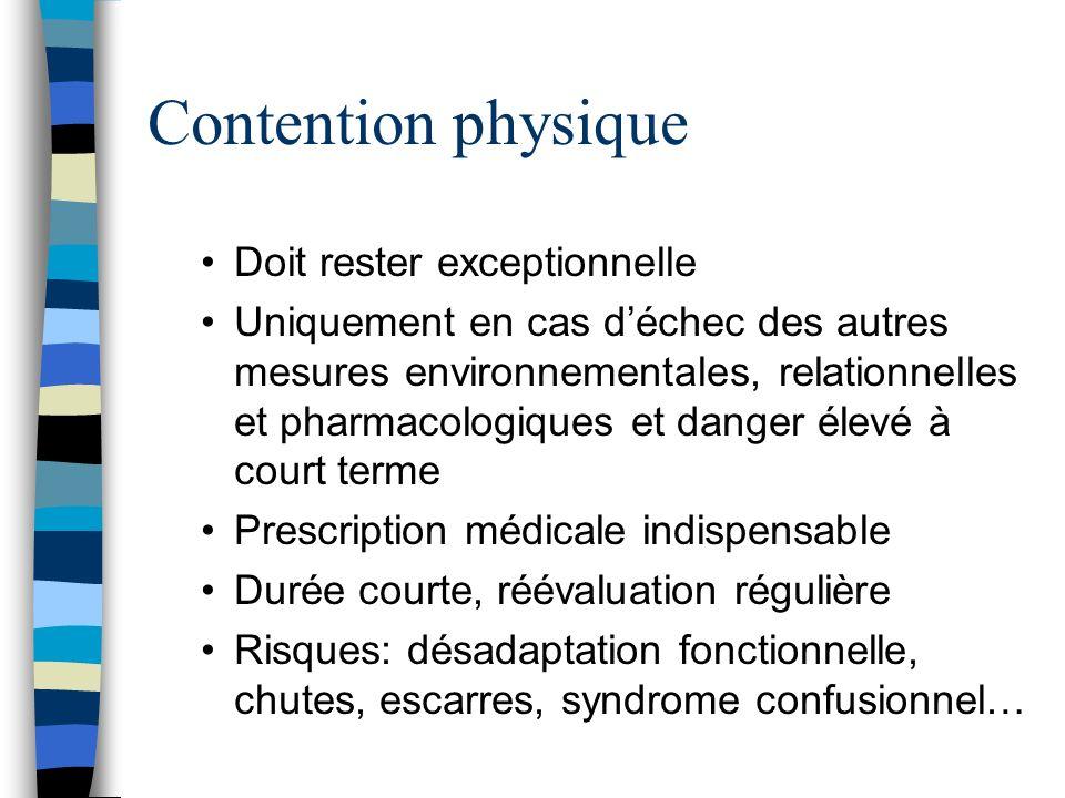 Contention physique Doit rester exceptionnelle Uniquement en cas déchec des autres mesures environnementales, relationnelles et pharmacologiques et da