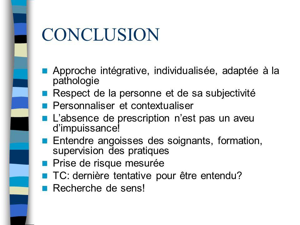 CONCLUSION Approche intégrative, individualisée, adaptée à la pathologie Respect de la personne et de sa subjectivité Personnaliser et contextualiser