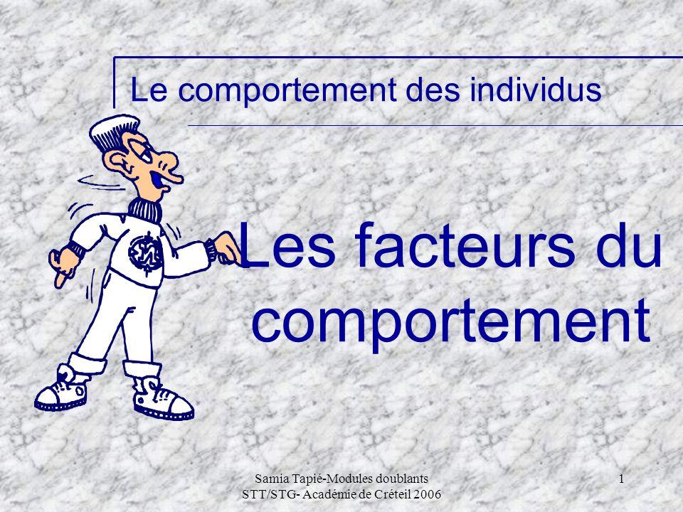 Samia Tapié-Modules doublants STT/STG- Académie de Créteil 2006 1 Le comportement des individus Les facteurs du comportement