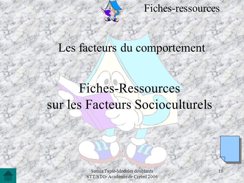 Samia Tapié-Modules doublants STT/STG- Académie de Créteil 2006 10 Les facteurs du comportement Fiches-Ressources sur les Facteurs Socioculturels Fich