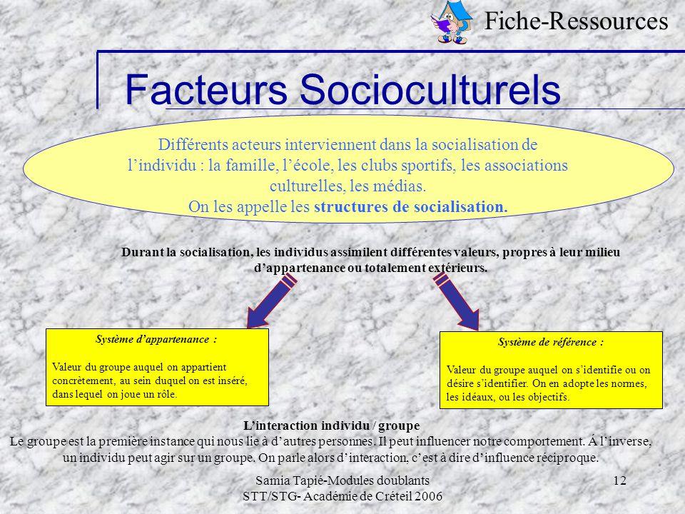 Samia Tapié-Modules doublants STT/STG- Académie de Créteil 2006 12 Facteurs Socioculturels Fiche-Ressources Différents acteurs interviennent dans la s