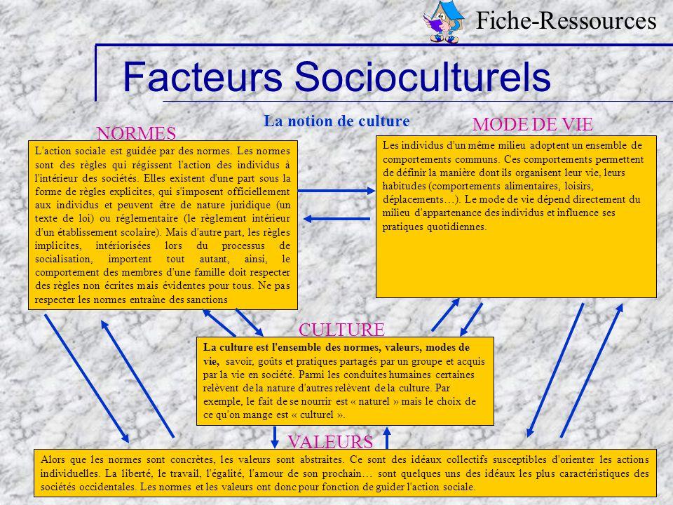 Samia Tapié-Modules doublants STT/STG- Académie de Créteil 2006 13 Facteurs Socioculturels Fiche-Ressources La notion de culture L'action sociale est