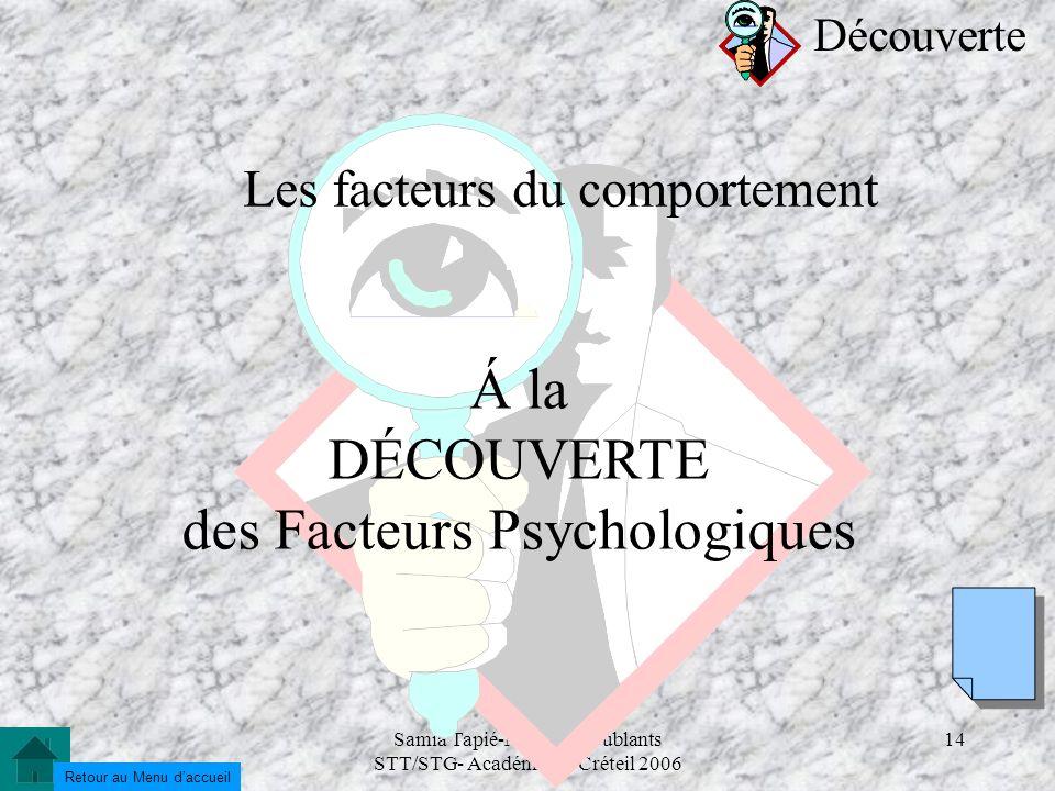 Samia Tapié-Modules doublants STT/STG- Académie de Créteil 2006 14 Les facteurs du comportement Á la DÉCOUVERTE des Facteurs Psychologiques Découverte