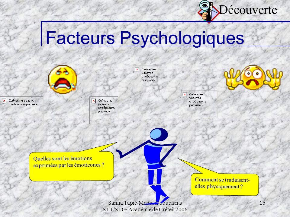 Samia Tapié-Modules doublants STT/STG- Académie de Créteil 2006 16 Découverte Facteurs Psychologiques Comment se traduisent- elles physiquement ? Quel