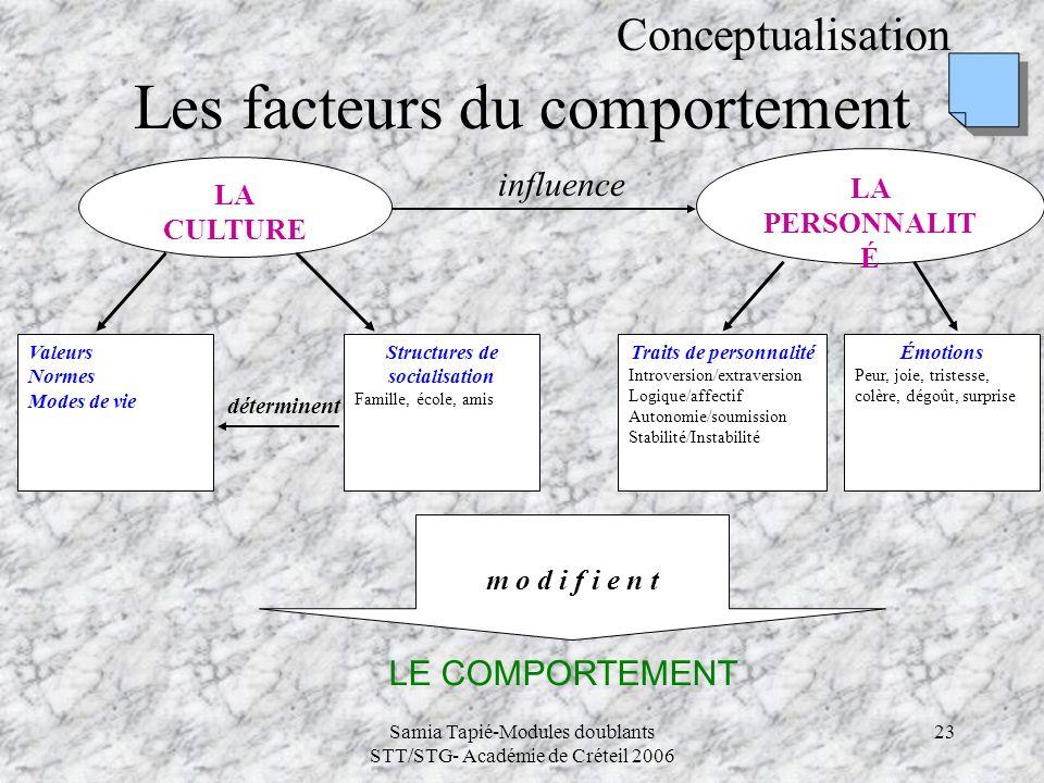 Samia Tapié-Modules doublants STT/STG- Académie de Créteil 2006 23 Les facteurs du comportement Conceptualisation LA CULTURE LA PERSONNALIT É Valeurs
