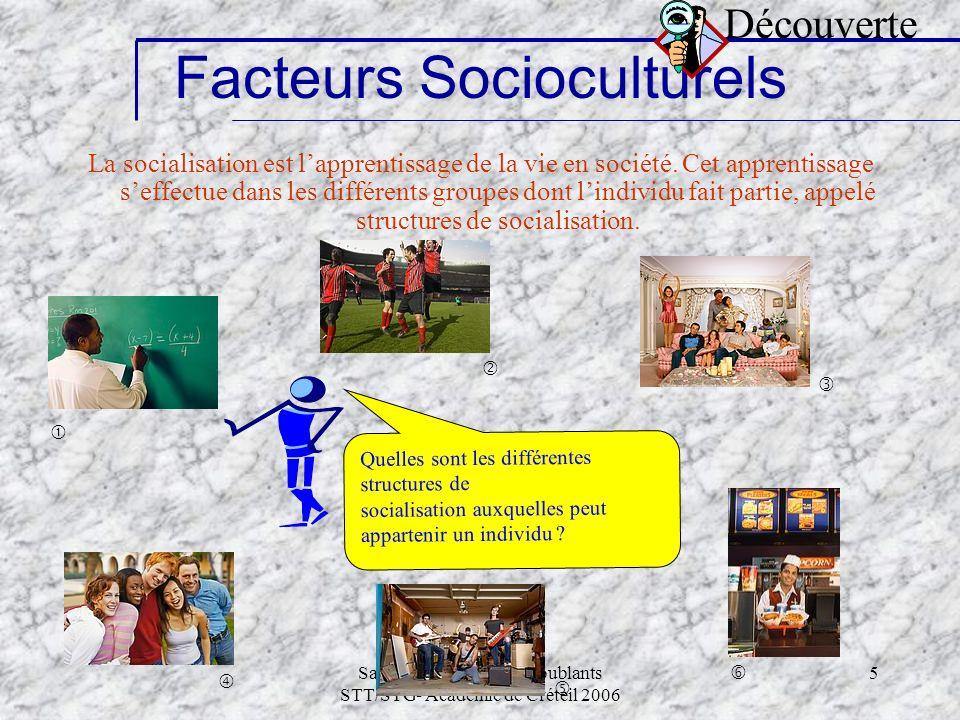 Samia Tapié-Modules doublants STT/STG- Académie de Créteil 2006 5 La socialisation est lapprentissage de la vie en société. Cet apprentissage seffectu