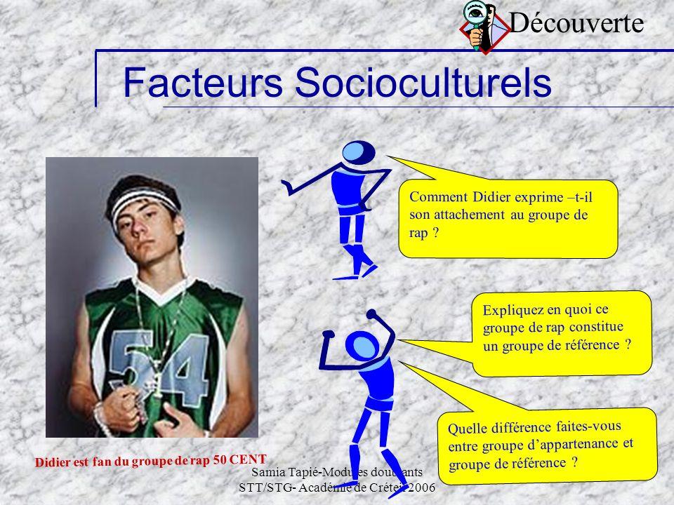 Samia Tapié-Modules doublants STT/STG- Académie de Créteil 2006 6 Facteurs Socioculturels Comment Didier exprime –t-il son attachement au groupe de ra