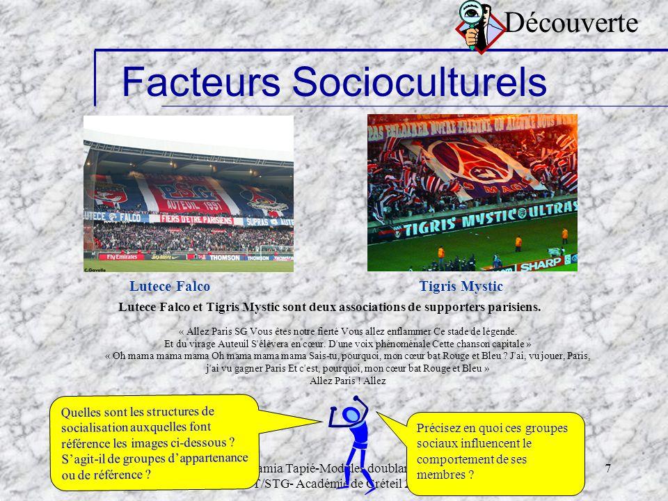 Samia Tapié-Modules doublants STT/STG- Académie de Créteil 2006 7 Lutece Falco Facteurs Socioculturels Tigris Mystic Lutece Falco et Tigris Mystic son