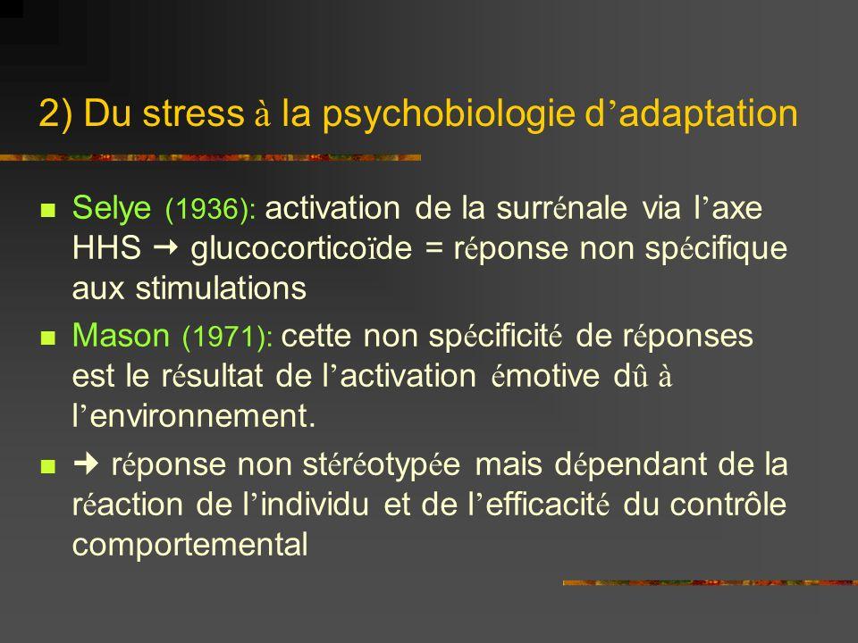 2) Du stress à la psychobiologie d adaptation Selye (1936): activation de la surr é nale via l axe HHS glucocortico ï de = r é ponse non sp é cifique aux stimulations Mason (1971): cette non sp é cificit é de r é ponses est le r é sultat de l activation é motive d û à l environnement.