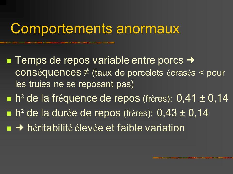 Comportements anormaux Temps de repos variable entre porcs cons é quences (taux de porcelets é cras é s < pour les truies ne se reposant pas) h ² de la fr é quence de repos (fr è res): 0,41 ± 0,14 h ² de la dur é e de repos (fr è res): 0,43 ± 0,14 h é ritabilit é é lev é e et faible variation