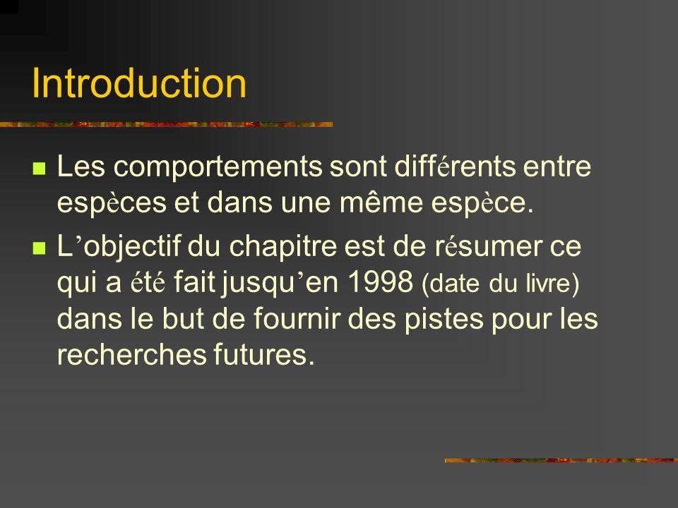Introduction Les comportements sont diff é rents entre esp è ces et dans une même esp è ce.