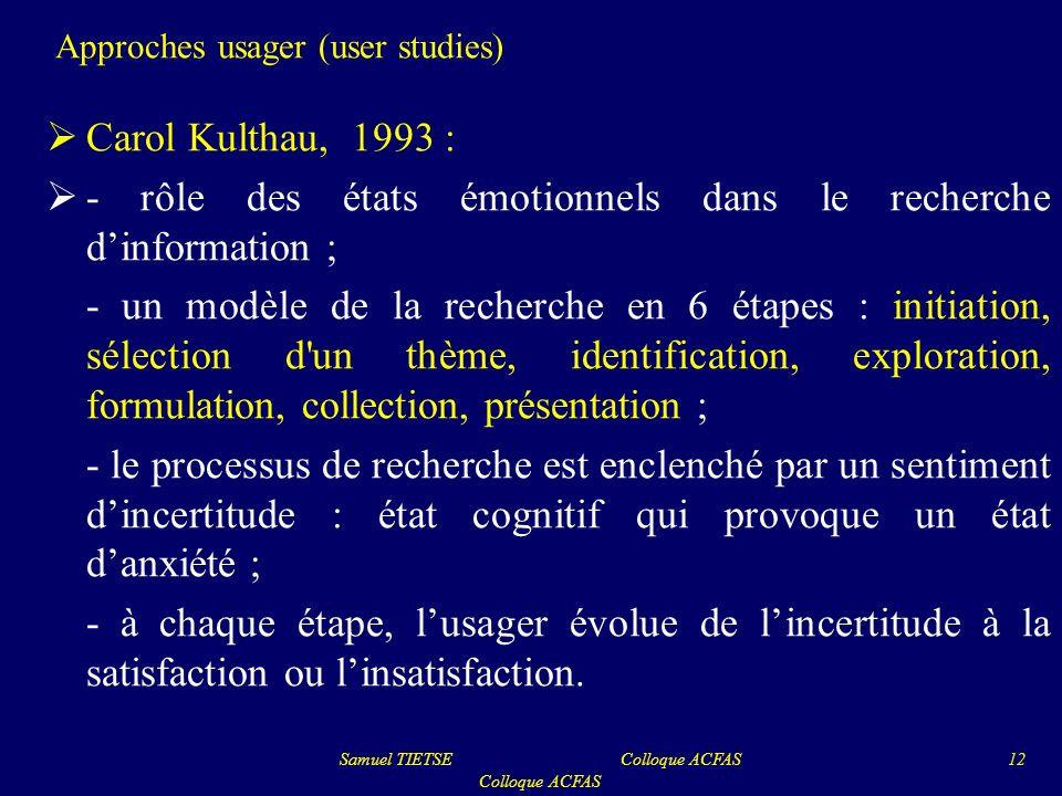 Approches usager (user studies) Carol Kulthau, 1993 : - rôle des états émotionnels dans le recherche dinformation ; - un modèle de la recherche en 6 é