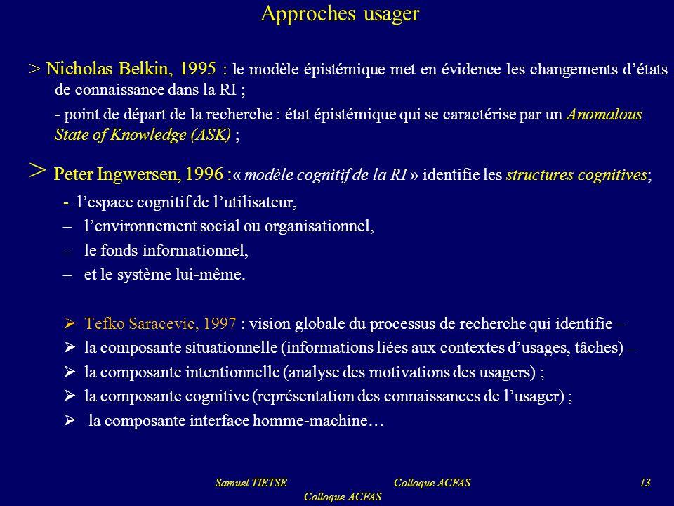 Approches usager > Nicholas Belkin, 1995 : le modèle épistémique met en évidence les changements détats de connaissance dans la RI ; - point de départ
