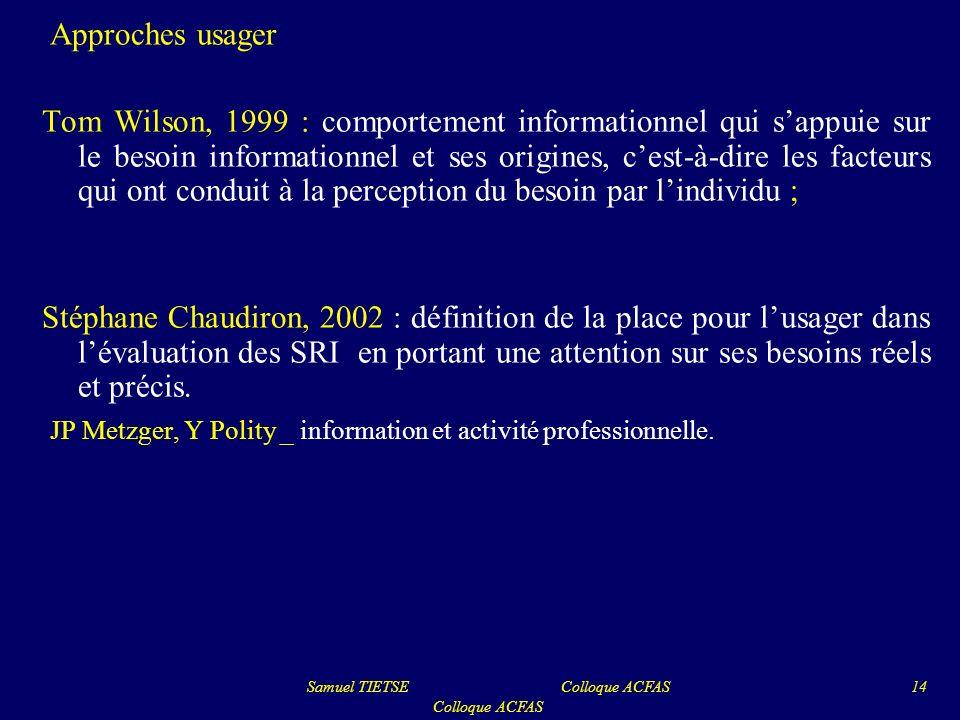 Approches usager Tom Wilson, 1999 : comportement informationnel qui sappuie sur le besoin informationnel et ses origines, cest-à-dire les facteurs qui