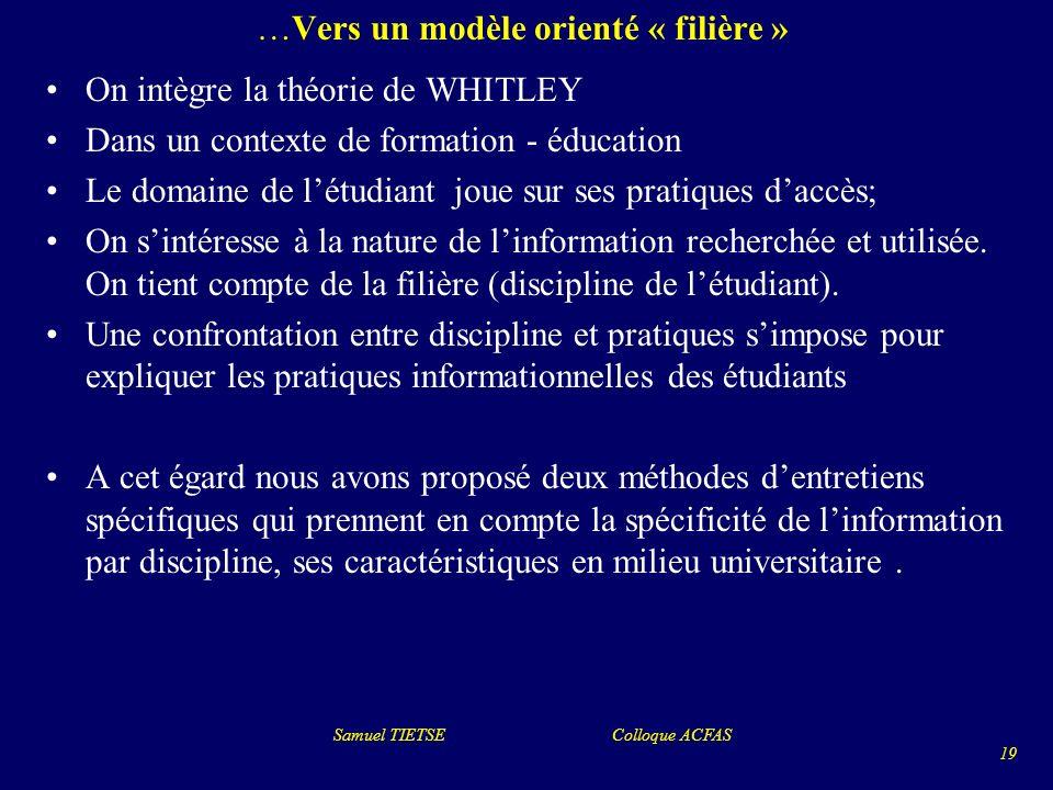 …Vers un modèle orienté « filière » On intègre la théorie de WHITLEY Dans un contexte de formation - éducation Le domaine de létudiant joue sur ses pr