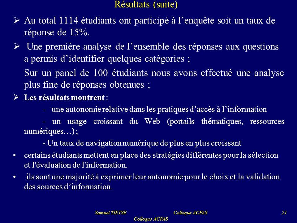 Résultats (suite) Au total 1114 étudiants ont participé à lenquête soit un taux de réponse de 15%. Une première analyse de lensemble des réponses aux