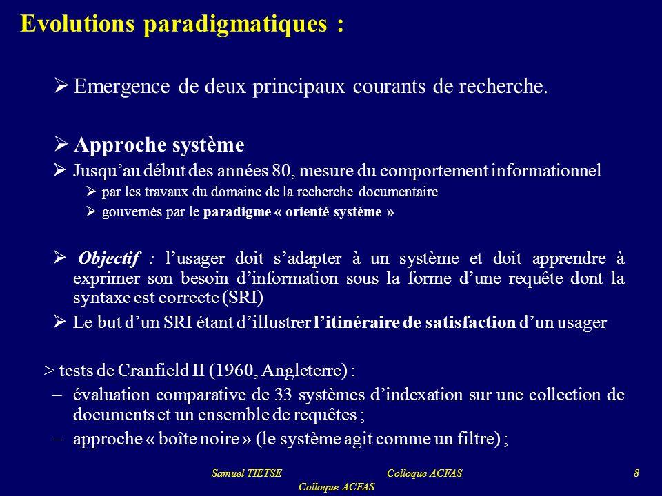 Evolutions paradigmatiques : Emergence de deux principaux courants de recherche. Approche système Jusquau début des années 80, mesure du comportement