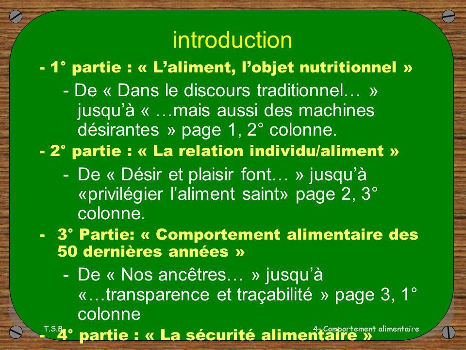 T.S.B.4- Comportement alimentaire introduction - 1° partie : « Laliment, lobjet nutritionnel » - De « Dans le discours traditionnel… » jusquà « …mais aussi des machines désirantes » page 1, 2° colonne.