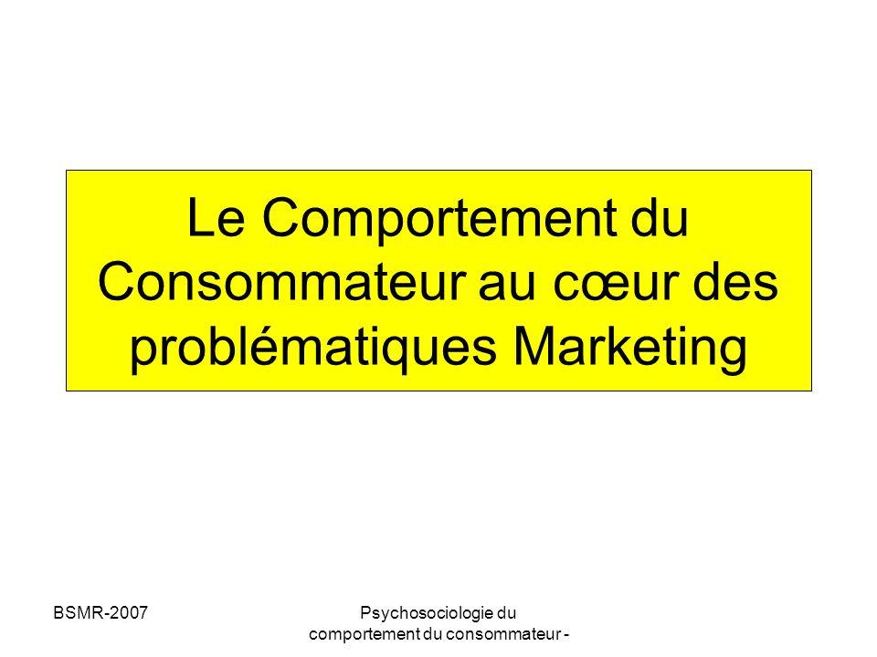 BSMR-2007Psychosociologie du comportement du consommateur - Plan de lintervention -Principaux modèles de comportement du consommateur -Besoins et motivations -Apprentissage du consommateur -Traitement de linformation -Formation des attitudes