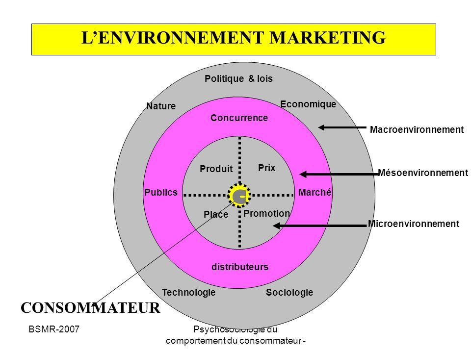 BSMR-2007Psychosociologie du comportement du consommateur - Comprendre le comportement du consommateur NIVEAU SOCIO-CULTUREL Classe Sociale, Style de Vie, Culture NIVEAU INTERPERSONNEL Groupes de référence, Leaders dopinion NIVEAU INDIVIDUEL Besoins, Perceptions Attitudes