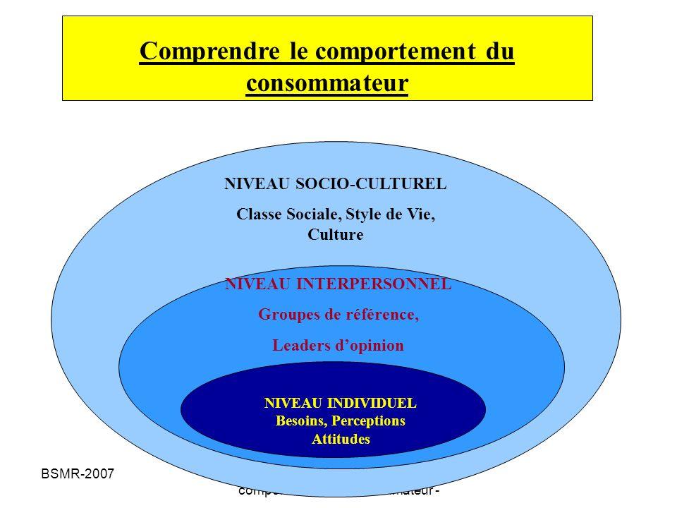 BSMR-2007Psychosociologie du comportement du consommateur - Petite histoire de la consommation Années 60: lacquisition des produits est vécue comme une condition à ladhésion au système de valeurs social.