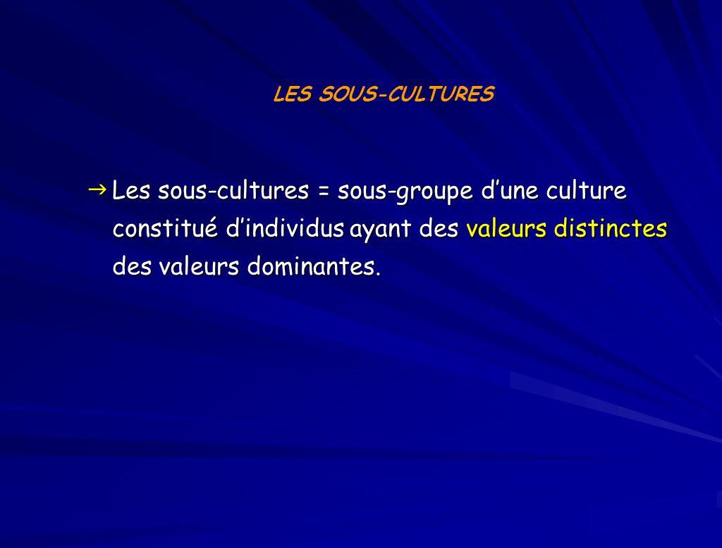 Les sous-cultures = sous-groupe dune culture constitué dindividus ayant des valeurs distinctes des valeurs dominantes.
