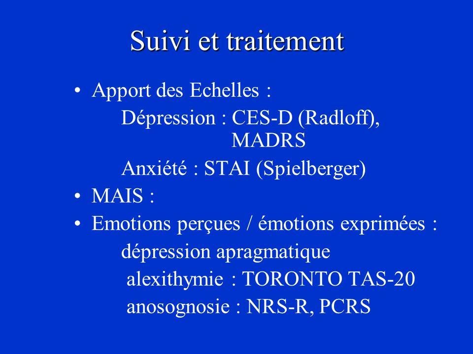 Suivi et traitement Apport des Echelles : Dépression : CES-D (Radloff), MADRS Anxiété : STAI (Spielberger) MAIS : Emotions perçues / émotions exprimée