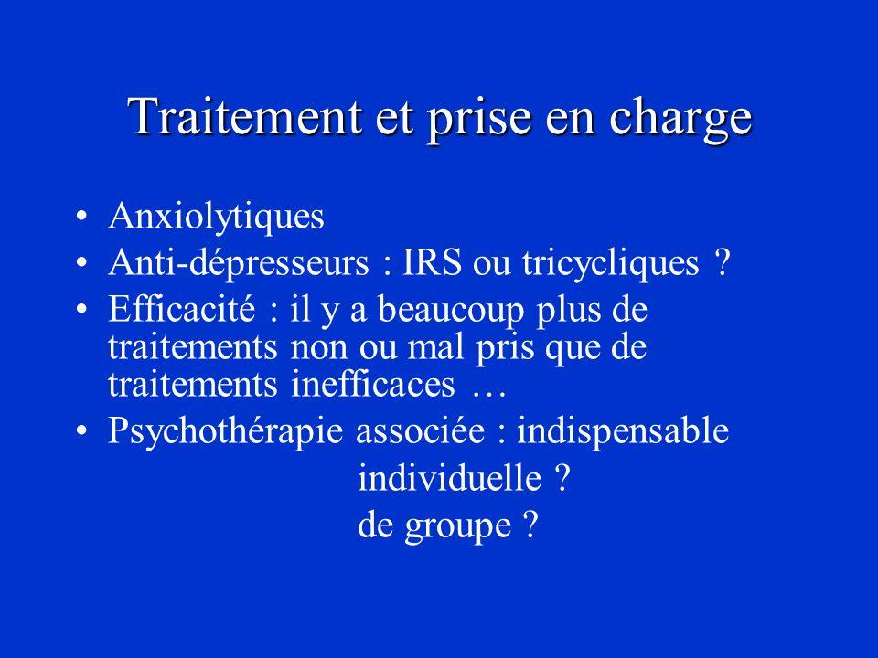 Traitement et prise en charge Anxiolytiques Anti-dépresseurs : IRS ou tricycliques ? Efficacité : il y a beaucoup plus de traitements non ou mal pris