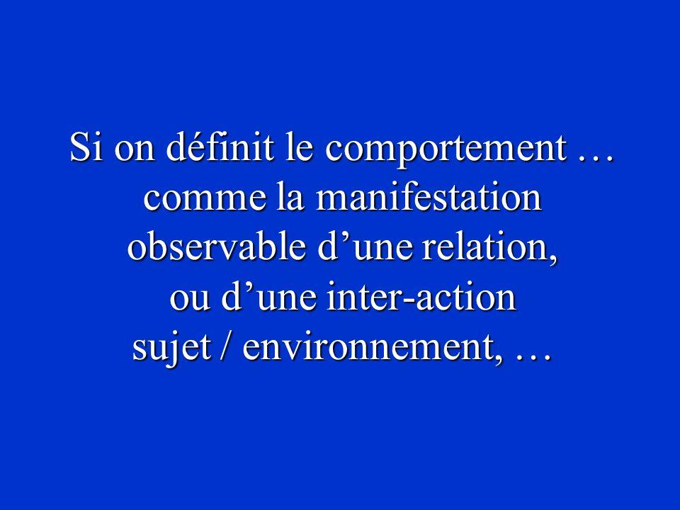 Si on définit le comportement … comme la manifestation observable dune relation, ou dune inter-action sujet / environnement, …