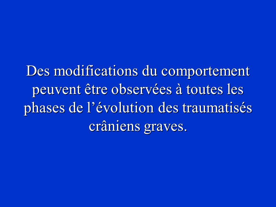 Des modifications du comportement peuvent être observées à toutes les phases de lévolution des traumatisés crâniens graves.