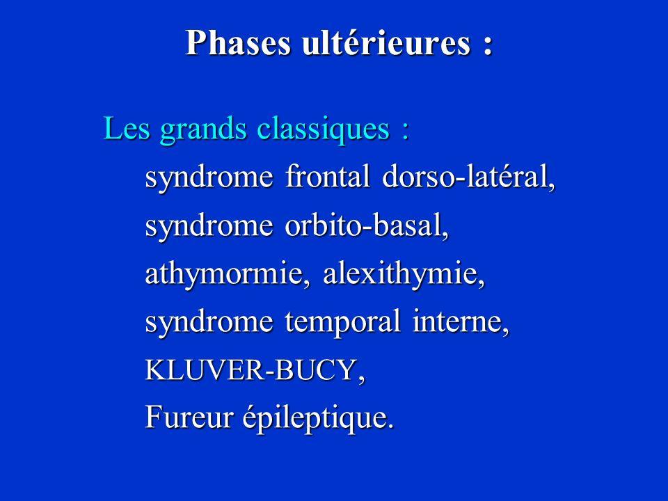 Phases ultérieures : Phases ultérieures : Les grands classiques : Les grands classiques : syndrome frontal dorso-latéral, syndrome orbito-basal, syndr