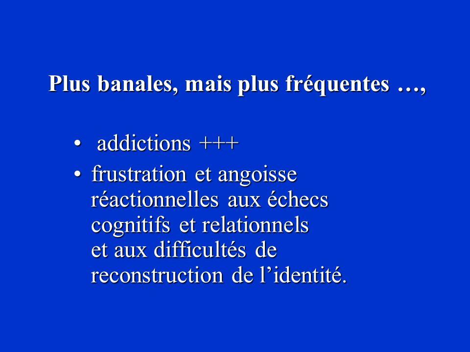 Plus banales, mais plus fréquentes …, Plus banales, mais plus fréquentes …, addictions +++ addictions +++ frustration et angoisse réactionnelles aux é