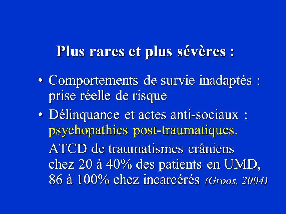 Plus rares et plus sévères : Plus rares et plus sévères : Comportements de survie inadaptés : prise réelle de risqueComportements de survie inadaptés