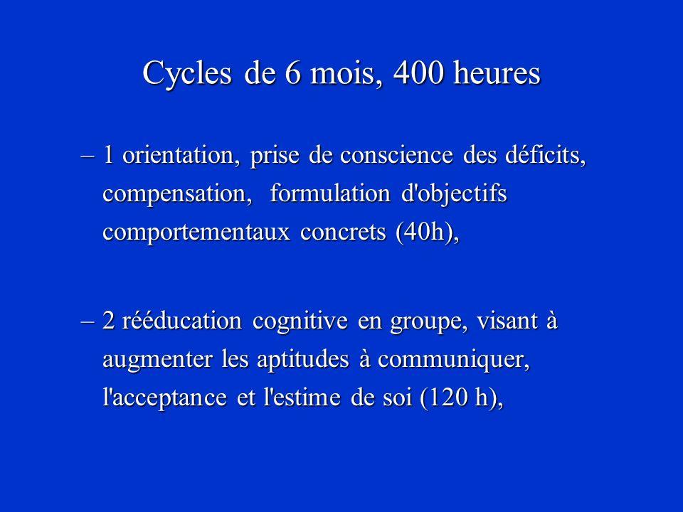 Cycles de 6 mois, 400 heures –1 orientation, prise de conscience des déficits, compensation, formulation d'objectifs comportementaux concrets (40h), –