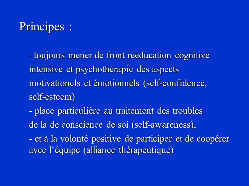 Principes : toujours mener de front rééducation cognitive - toujours mener de front rééducation cognitive intensive et psychothérapie des aspects moti