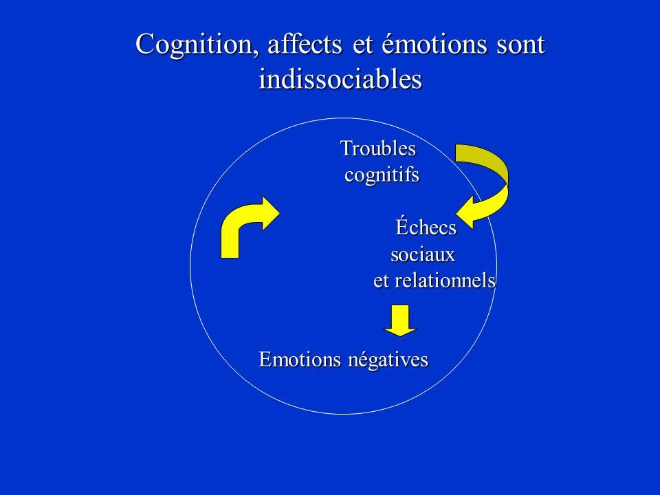 Troubles Troubles cognitifs cognitifs Échecs Échecs sociaux sociaux et relationnels et relationnels Emotions négatives Cognition, affects et émotions