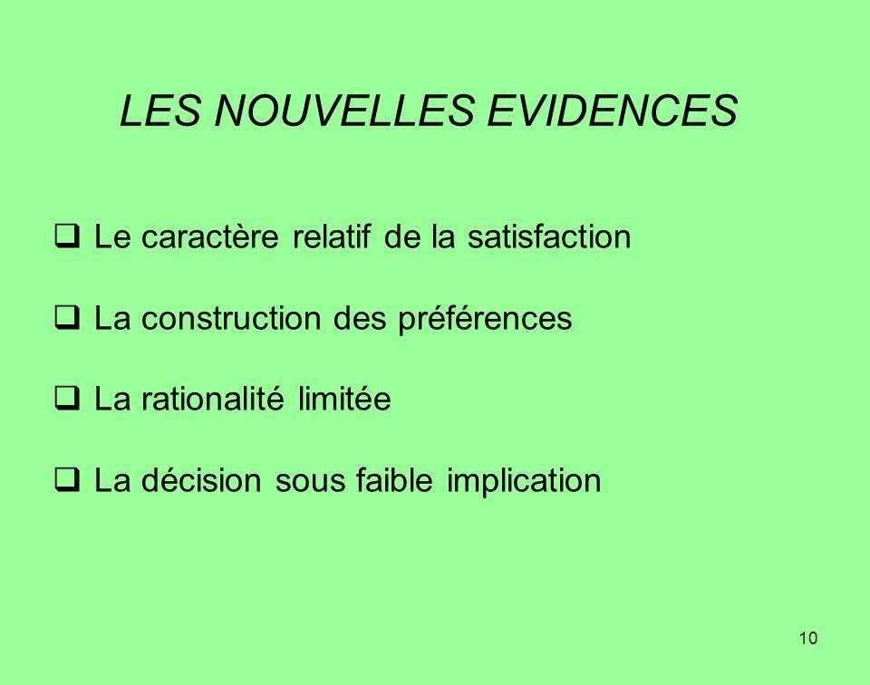 10 LES NOUVELLES EVIDENCES Le caractère relatif de la satisfaction La construction des préférences La rationalité limitée La décision sous faible impl