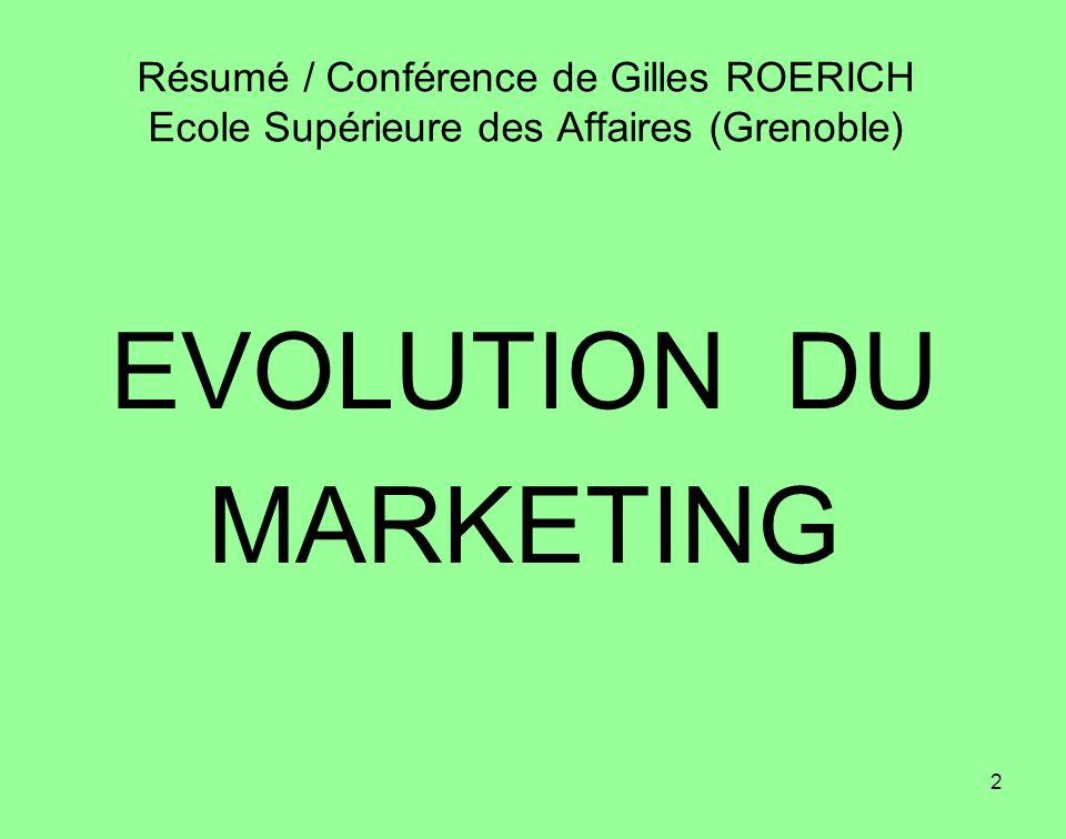 2 EVOLUTION DU MARKETING Résumé / Conférence de Gilles ROERICH Ecole Supérieure des Affaires (Grenoble)