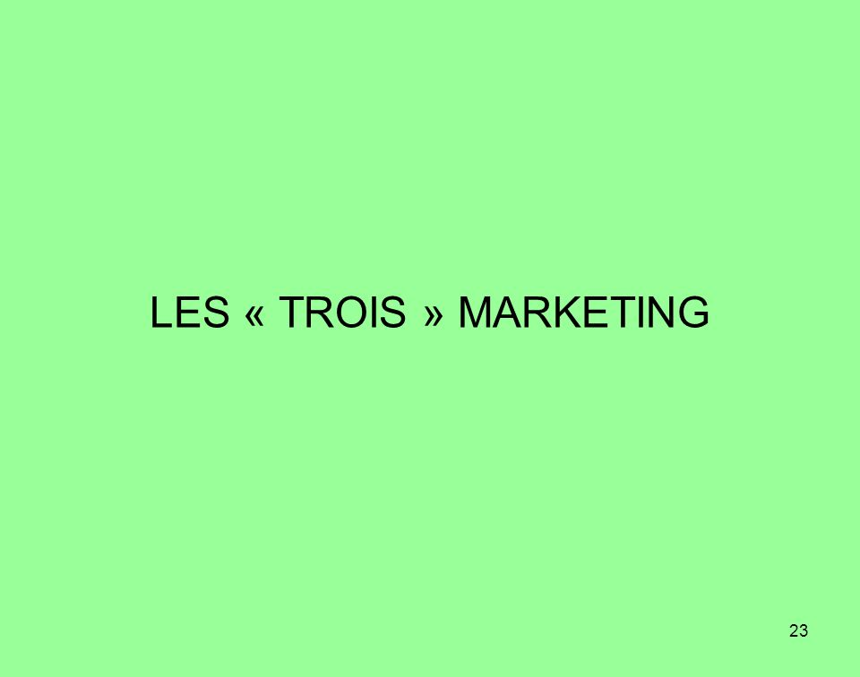 23 LES « TROIS » MARKETING