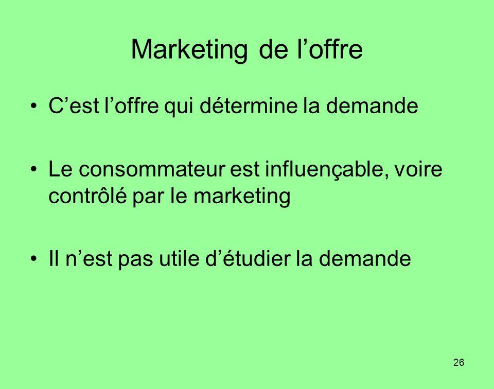 26 Marketing de loffre Cest loffre qui détermine la demande Le consommateur est influençable, voire contrôlé par le marketing Il nest pas utile détudi