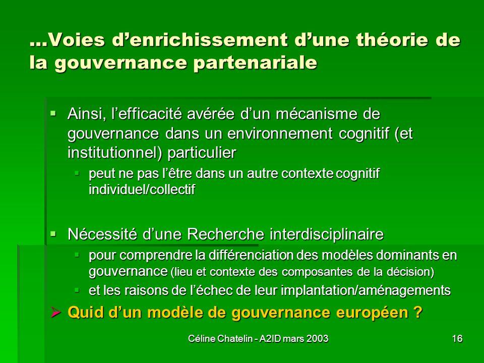 Céline Chatelin - A2ID mars 200316 …Voies denrichissement dune théorie de la gouvernance partenariale Ainsi, lefficacité avérée dun mécanisme de gouve