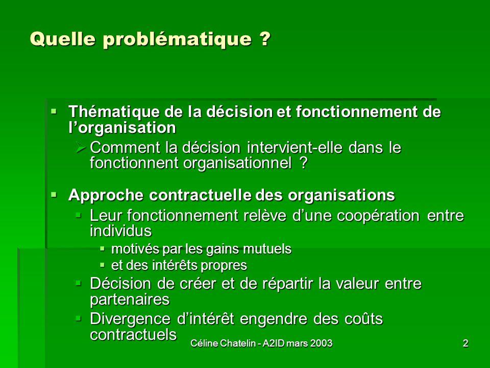 Céline Chatelin - A2ID mars 20032 Quelle problématique ? Thématique de la décision et fonctionnement de lorganisation Thématique de la décision et fon