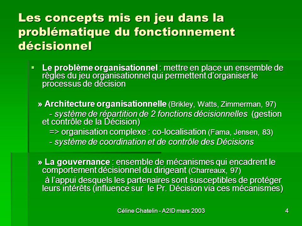 Céline Chatelin - A2ID mars 20034 Les concepts mis en jeu dans la problématique du fonctionnement décisionnel Le problème organisationnel : mettre en