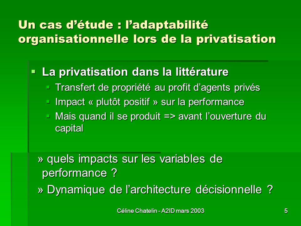 Céline Chatelin - A2ID mars 20035 Un cas détude : ladaptabilité organisationnelle lors de la privatisation La privatisation dans la littérature La pri