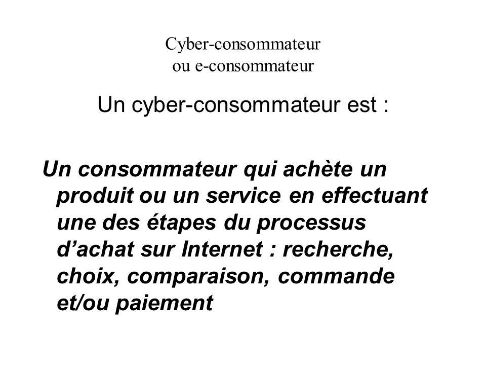 Cyber-consommateur ou e-consommateur Un cyber-consommateur est : Un consommateur qui achète un produit ou un service en effectuant une des étapes du p