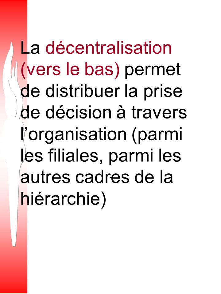 La centralisation (vers le haut) permet de rassembler la prise de décision à un haut niveau (le bureau chef, par exemple)